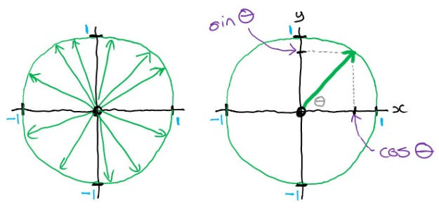 Unit circle - unit rays - sine and cosine
